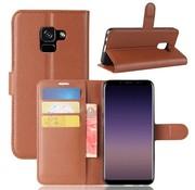 GSMWise Samsung Galaxy A8 (2018) - Lychee PU Lederen Portemonnee Case - Bruin