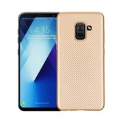 GSMWise Samsung Galaxy A8 (2018) - Carbon Fiber Textuur Back Cover Hardcase - Goud