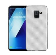 GSMWise Samsung Galaxy A8 (2018) - Carbon Fiber Textuur Back Cover Hardcase - Zilver