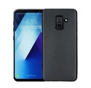 GSMWise Samsung Galaxy A8 (2018) - Carbon Fiber Textuur Back Cover Hardcase - Zwart