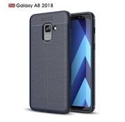 GSMWise Samsung Galaxy A8 (2018) - Zachte Lychee Flexibele TPU Hoesje Back Case - Blauw