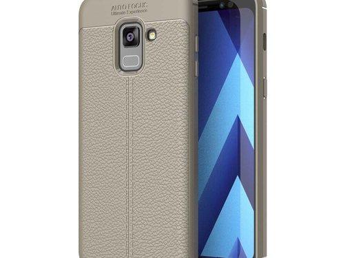 GSMWise Samsung Galaxy A8 (2018) - Zachte Lychee Flexibele TPU Hoesje Back Case - Grijs