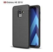 GSMWise Samsung Galaxy A8 (2018) - Zachte Lychee Flexibele TPU Hoesje Back Case - Zwart
