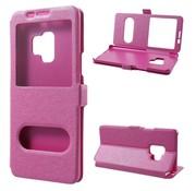 GSMWise Samsung Galaxy S9 - Slim Book Window View Case met Venster - Hot Pink