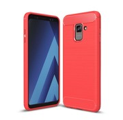 GSMWise Samsung Galaxy A8 (2018) - Geborsteld Hard Back Case Carbon Fiber Design - Rood