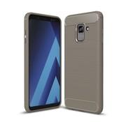 GSMWise Samsung Galaxy A8 (2018) - Geborsteld Hard Back Case Carbon Fiber Design - Grijs