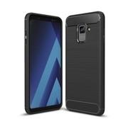 GSMWise Samsung Galaxy A8 (2018) - Geborsteld Hard Back Case Carbon Fiber Design - Zwart