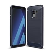 GSMWise Samsung Galaxy A8 (2018) - Geborsteld Hard Back Case Carbon Fiber Design - Blauw