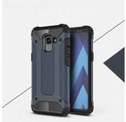 GSMWise Samsung Galaxy A8 (2018) - Stevig Hybrid Beschermhoesje Back Case Shockproof - Donker Blauw