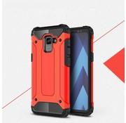 GSMWise Samsung Galaxy A8 (2018) - Stevig Hybrid Beschermhoesje Back Case Shockproof - Rood