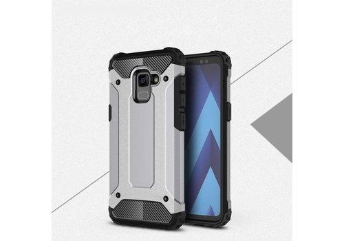 Samsung Galaxy A8 (2018) - Stevig Hybrid Beschermhoesje Back Case Shockproof - Grijs