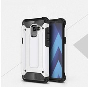 GSMWise Samsung Galaxy A8 (2018) - Stevig Hybrid Beschermhoesje Back Case Shockproof - Wit