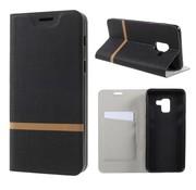 GSMWise Samsung Galaxy A8 (2018) - Book Case Denim en Leer Wallet Case Hoesje - Zwart