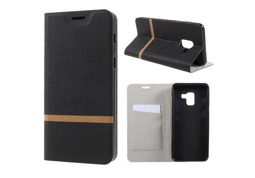 Samsung Galaxy A8 (2018) - Book Case Denim en Leer Wallet Case Hoesje - Zwart