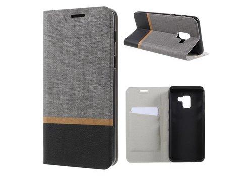 Samsung Galaxy A8 (2018) - Book Case Denim en Leer Wallet Case Hoesje - Grijs