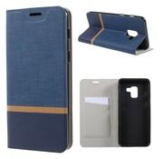 GSMWise Samsung Galaxy A8 (2018) - Book Case Denim en Leer Wallet Case Hoesje - Blauw