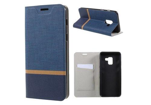 Samsung Galaxy A8 (2018) - Book Case Denim en Leer Wallet Case Hoesje - Blauw
