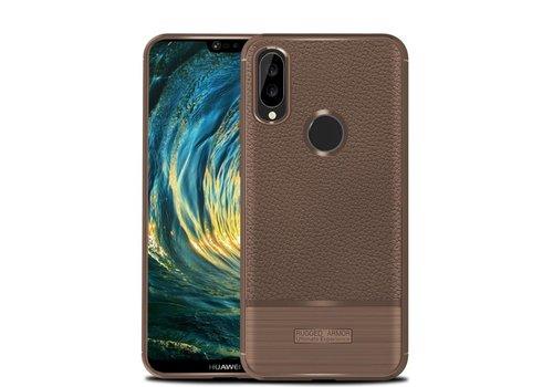 Huawei P20 Lite - Zachte Lychee Geborsteld Flexibele TPU Hoesje Back Case - Bruin