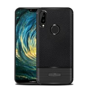 GSMWise Huawei P20 Lite - Zachte Lychee Geborsteld Flexibele TPU Hoesje Back Case - Zwart