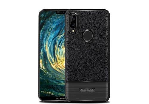 Huawei P20 Lite - Zachte Lychee Geborsteld Flexibele TPU Hoesje Back Case - Zwart