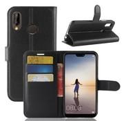 GSMWise Huawei P20 Lite - Lychee PU Lederen Portemonnee Case - Zwart