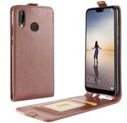GSMWise Huawei P20 Lite - PU lederen Flip Hoesje Case met Kaarthouder en Fotohouder - Bruin