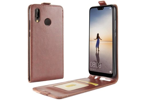 Huawei P20 Lite - PU lederen Flip Hoesje Case met Kaarthouder en Fotohouder - Bruin