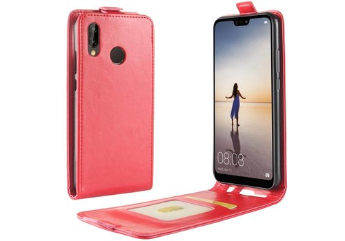 Huawei P20 Lite - PU lederen Flip Hoesje Case met Kaarthouder en Fotohouder - Rood