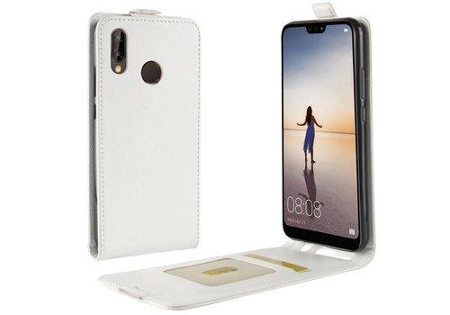 Huawei P20 Lite - PU lederen Flip Hoesje Case met Kaarthouder en Fotohouder - Wit