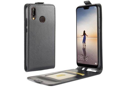 Huawei P20 Lite - PU lederen Flip Hoesje Case met Kaarthouder en Fotohouder - Zwart