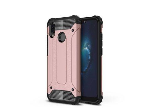 Huawei P20 Lite - Stevig Hybrid Beschermhoesje Back Case Shockproof - Rose Goud