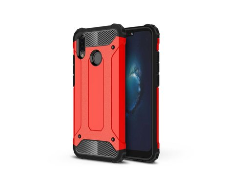 Huawei P20 Lite - Stevig Hybrid Beschermhoesje Back Case Shockproof - Rood