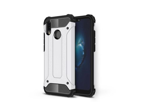 Huawei P20 Lite - Stevig Hybrid Beschermhoesje Back Case Shockproof - Wit