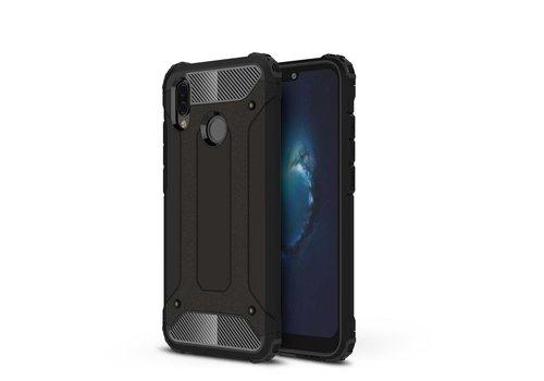 Huawei P20 Lite - Stevig Hybrid Beschermhoesje Back Case Shockproof - Zwart