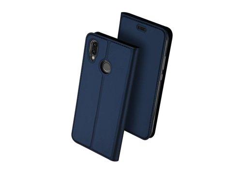 Huawei P20 Lite - PU Lederen Bookcase Hoesje met Pashouder - Blauw