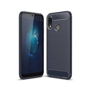 GSMWise Huawei P20 Lite - Geborsteld Hard Back Case Carbon Fiber Design - Blauw