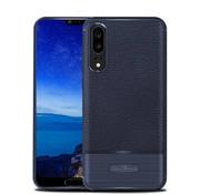 GSMWise Huawei P20 - Zachte Lychee Geborsteld Flexibele TPU Hoesje Back Case - Blauw