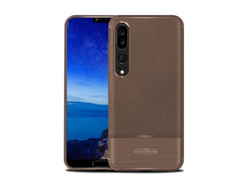 Huawei P20 Pro - Zachte Lychee Geborsteld Flexibele TPU Hoesje Back Case - Bruin