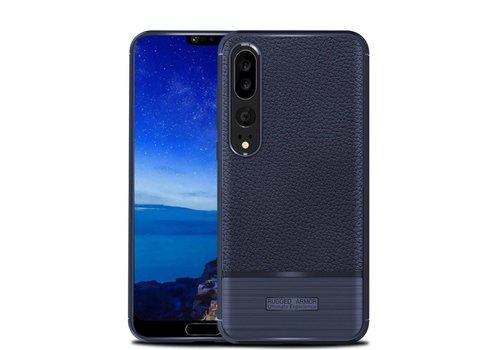 Huawei P20 Pro - Zachte Lychee Geborsteld Flexibele TPU Hoesje Back Case - Blauw
