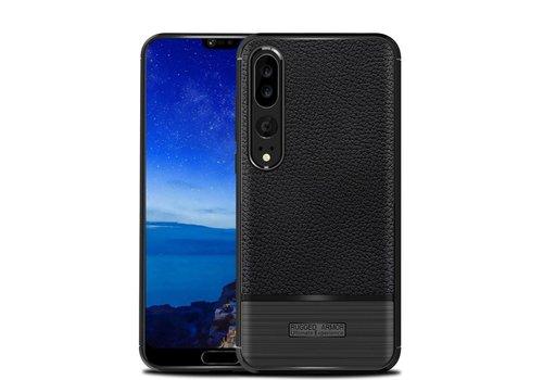 Huawei P20 Pro - Zachte Lychee Geborsteld Flexibele TPU Hoesje Back Case - Zwart