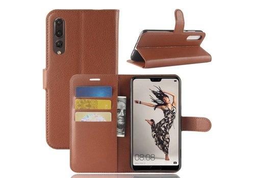 Huawei P20 Pro - Lychee PU Lederen Portemonnee Case - Bruin