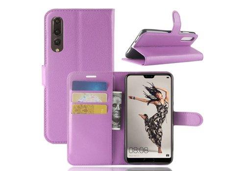 Huawei P20 Pro - Lychee PU Lederen Portemonnee Case - Paars