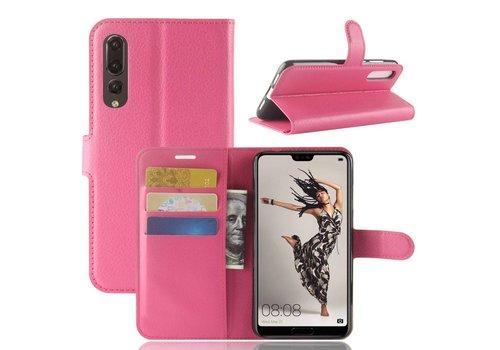 Huawei P20 Pro - Lychee PU Lederen Portemonnee Case - Hot Pink