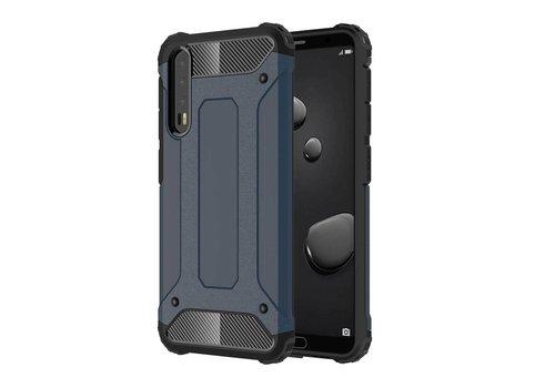 Huawei P20 Pro - Stevig Hybrid Beschermhoesje Back Case Shockproof - Donker Blauw