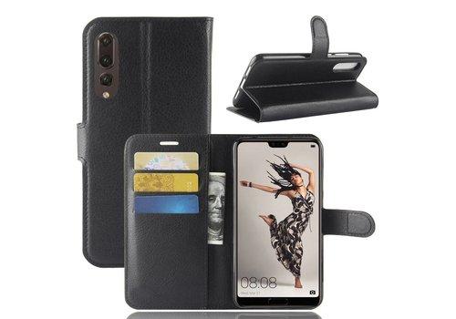 Huawei P20 Pro - Lychee PU Lederen Portemonnee Case - Zwart