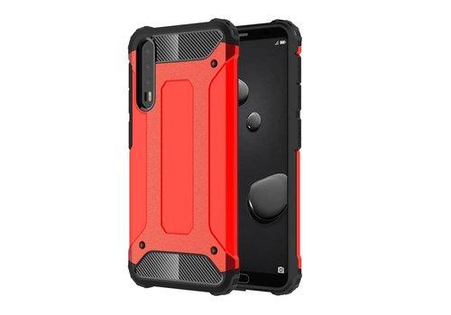 Huawei P20 Pro - Stevig Hybrid Beschermhoesje Back Case Shockproof - Rood
