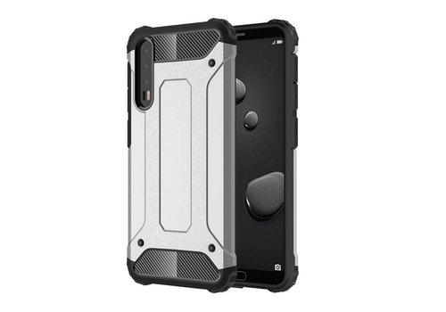 Huawei P20 Pro - Stevig Hybrid Beschermhoesje Back Case Shockproof - Zilver