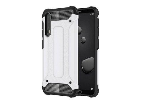 Huawei P20 Pro - Stevig Hybrid Beschermhoesje Back Case Shockproof - Wit