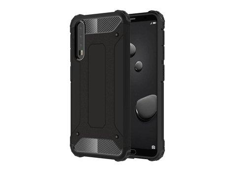 Huawei P20 Pro - Stevig Hybrid Beschermhoesje Back Case Shockproof - Zwart