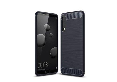 Huawei P20 Pro - Geborsteld Hard Back Case Carbon Fiber Design - Blauw